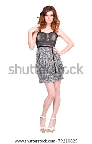 Beautiful young woman isolated on white - stock photo