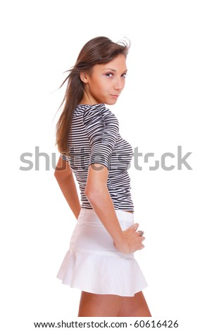 Beautiful young woman. Isolated over white background