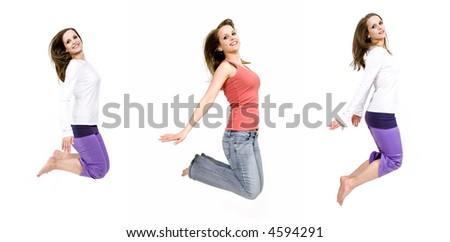 Beautiful young woman jumping - white background - stock photo
