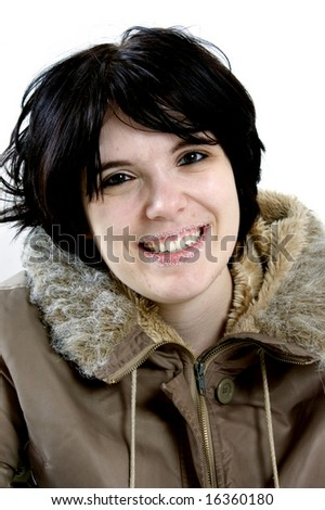 beautiful young woman laughing - stock photo