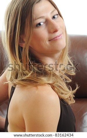 Beautiful young Woman looking at you - stock photo