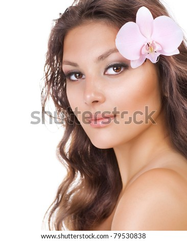 Beautiful Young Woman.Natural Beauty - stock photo