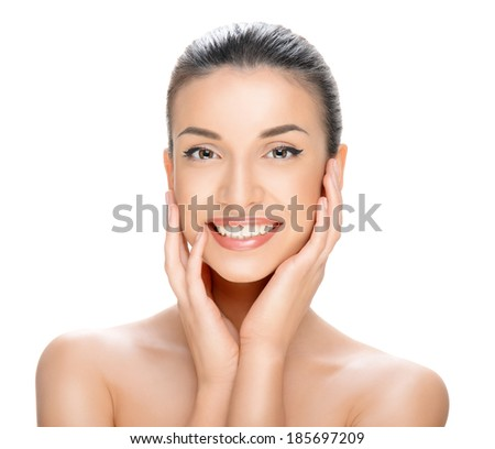 beautiful young woman on a white background, beauty concept  - stock photo