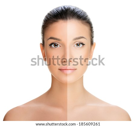 beautiful young woman on a white background, beauty concept. tan before and after.face divided in two parts, tanned and natural. - stock photo