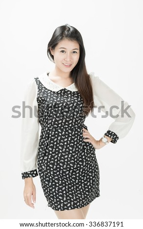 Beautiful young woman on white background.