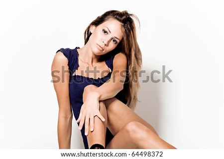 beautiful young woman on white background - stock photo