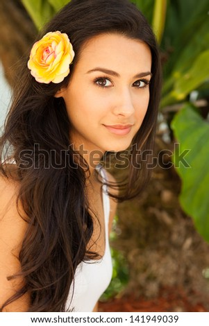 Beautiful young woman outdoor portrait.