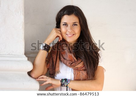 Beautiful young woman. Outdoor portrait - stock photo