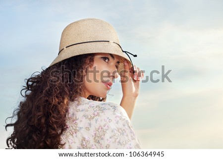 beautiful young woman outdoor portrait at sunset