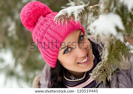 beautiful young woman outdoor winter portrait