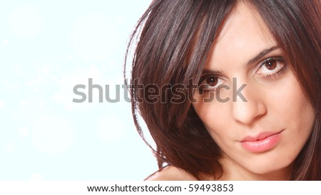Beautiful young Woman  over blue background