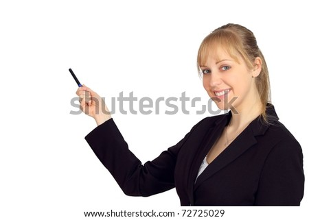 Beautiful young woman pointing and making a presentation - stock photo