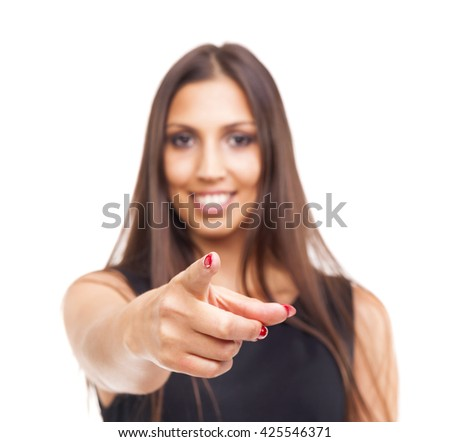 Beautiful young woman pointing at You, isolated over white background - stock photo