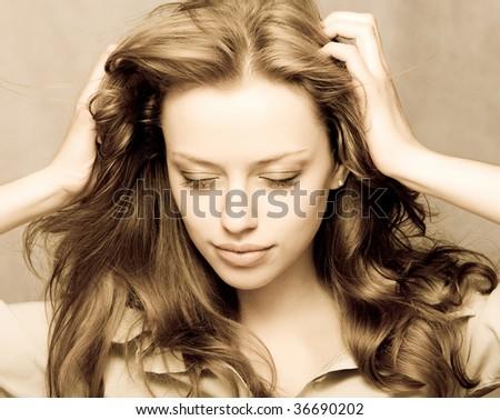 beautiful young woman portrait - stock photo