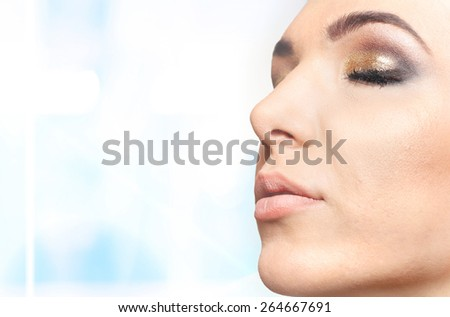 Beautiful young woman - Portrait at salon - stock photo
