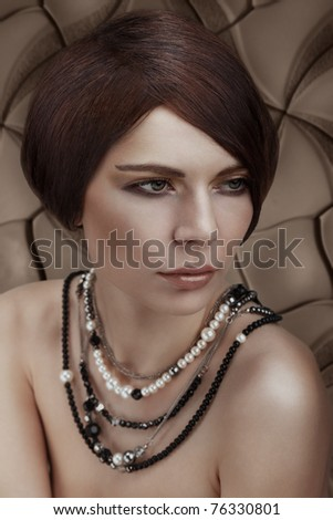 Beautiful Young Woman portrait. Greek style