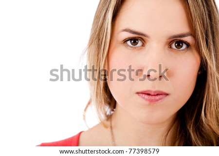 Beautiful young woman portrait - isolated over a white background