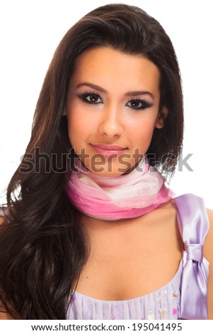 Beautiful young woman portrait on a white background. - stock photo