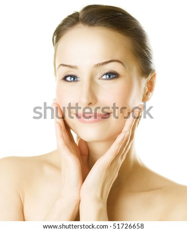 Beautiful Young Woman Portrait over white background - stock photo