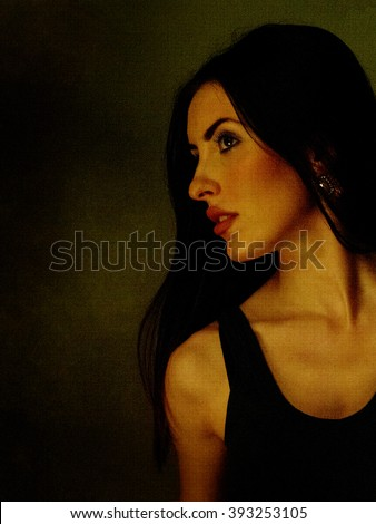 Beautiful young woman portrait. Photo processed to look like painting on canvas texture. Beautiful! - stock photo