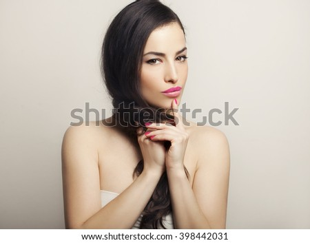 beautiful young woman portrait, studio shot