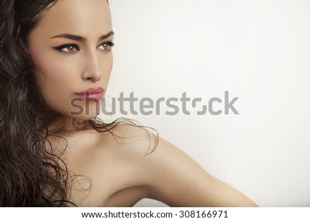 beautiful young woman portrait, studio white background