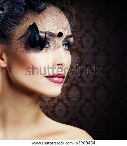 Beautiful Young Woman portrait.Vintage Styled - stock photo