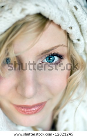 Beautiful young woman portrait with white hat - stock photo