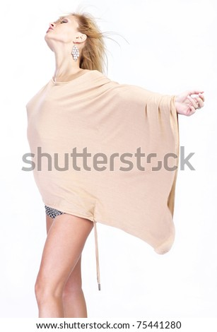 Beautiful young woman pose - isolated on white - stock photo