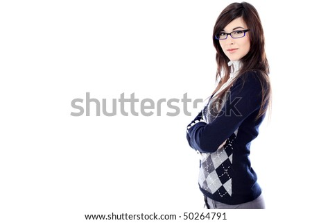 Beautiful young woman posing in business suit and glasses. Isolated over white background. - stock photo