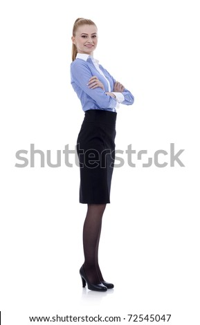 Beautiful young woman posing in business suit. Isolated over white background. - stock photo