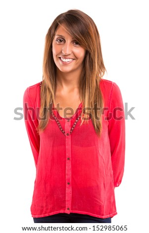 Beautiful young woman posing isolated over white background - stock photo