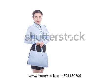 beautiful young woman posing, leather shorts, handbag and shirt white background