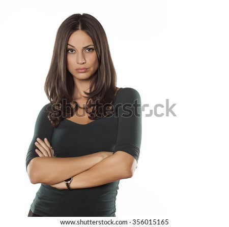 beautiful young woman posing on a white background