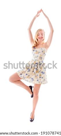 Beautiful young woman practicing yoga - stock photo