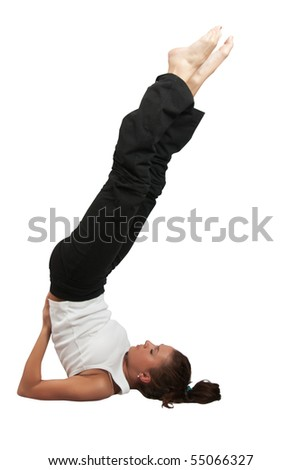 Beautiful young woman practicing yoga  over white background