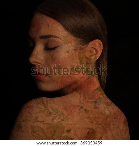 Beautiful young woman profile with floral texture applied - stock photo