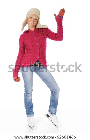 Beautiful young woman puts on skates. Isolated on white background - stock photo