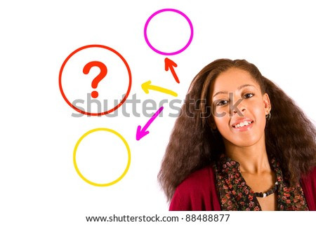 beautiful young woman questioning - stock photo