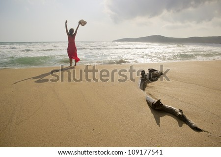 Beautiful young woman raising her arms with joy on a beautiful wild pristine sandy beach - stock photo