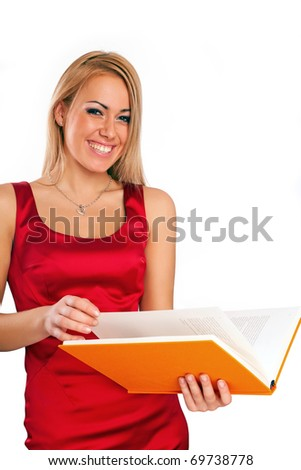 Beautiful young woman reading book over white background