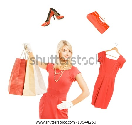 Beautiful young woman ready for shopping - stock photo