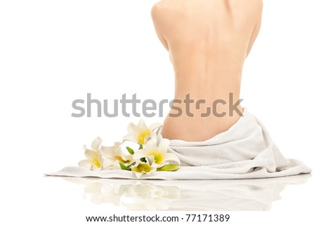 beautiful young woman ready for spa treatment - stock photo