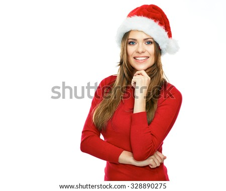beautiful young woman red Santa hat dressed. Smiling santa girl isolated portrait on white background. - stock photo