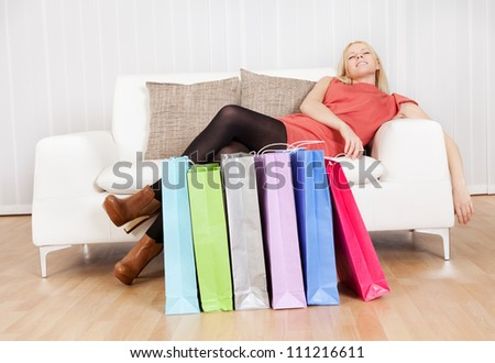 shopping on couch shopping tired stock images royalty free images vectors