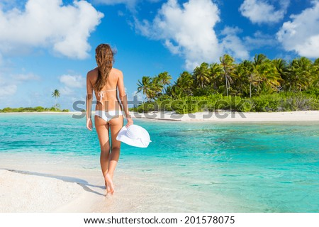 Beautiful Young Woman Relaxing Tropical Island, Vacation Travel Concept - stock photo