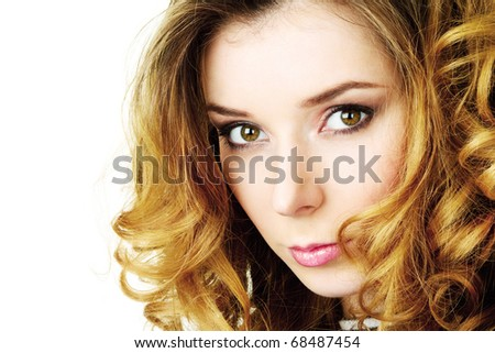 Beautiful young woman romantic portrait over white