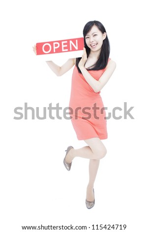 beautiful young woman showing open sign, isolated on white background