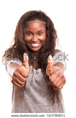 Beautiful young woman signaling ok, isolated over white - stock photo