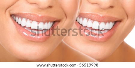 Beautiful young woman smile and teeth. - stock photo
